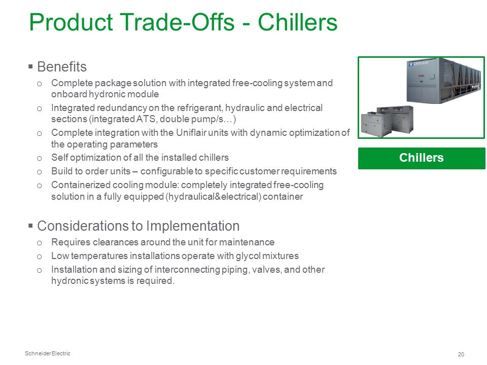 Product Trade-Offs - Chillers