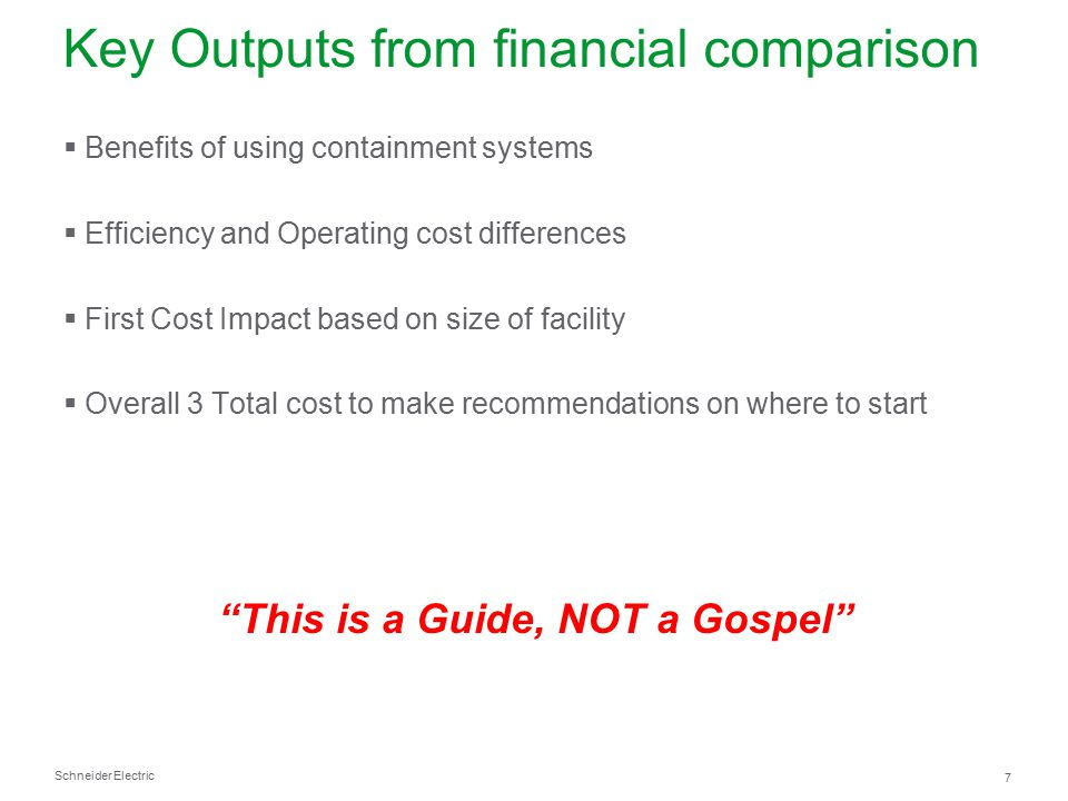 Key Outputs from financial comparison