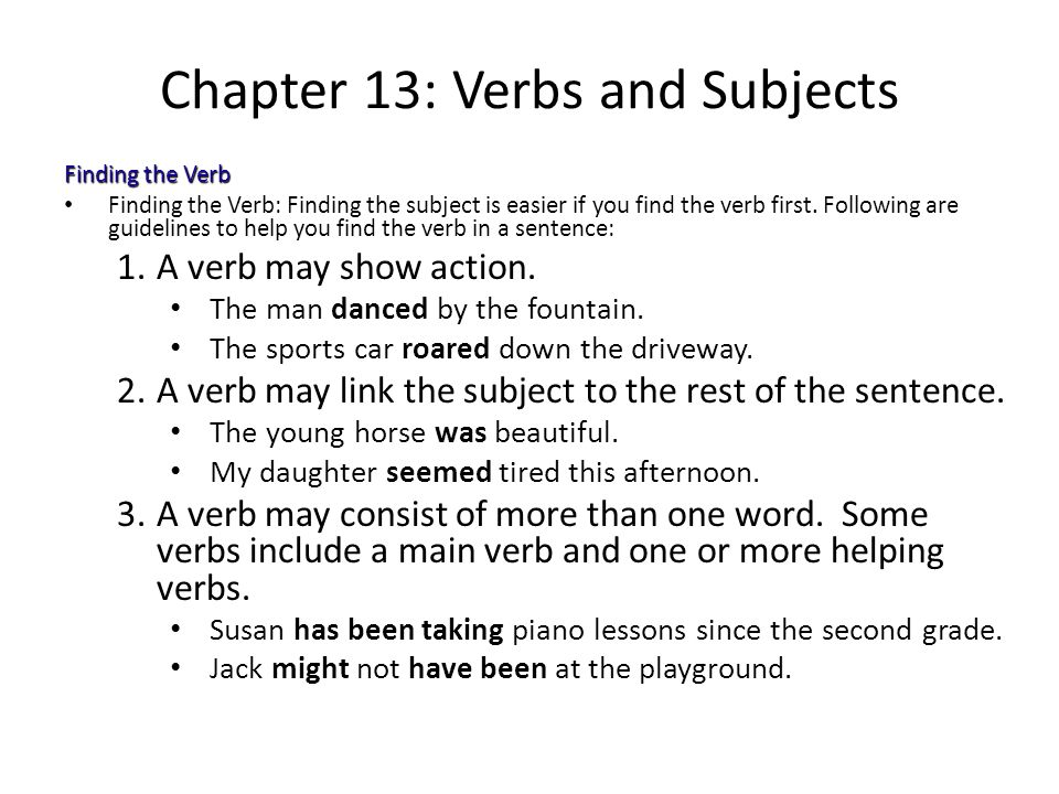 Chapter 13: Verbs and Subjects