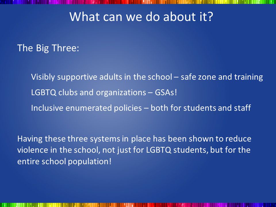 What can we do about it The Big Three: