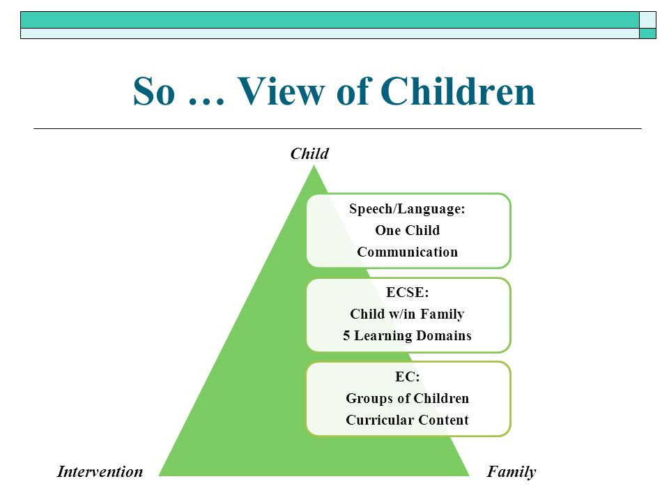 So … View of Children Child Intervention Family Speech/Language: