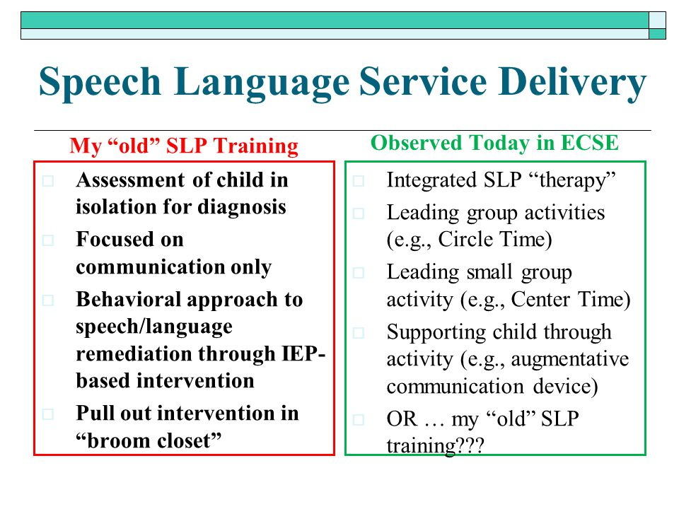 Speech Language Service Delivery
