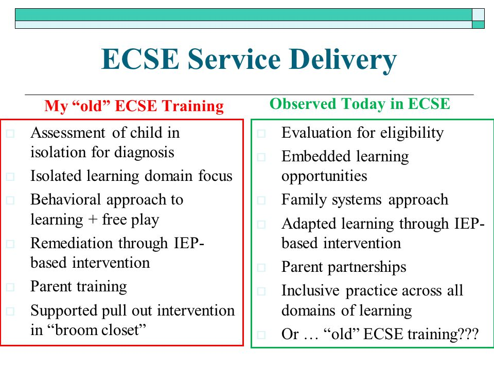 ECSE Service Delivery My old ECSE Training Observed Today in ECSE
