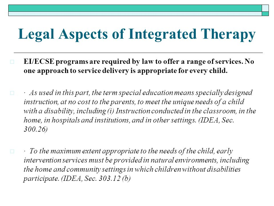 Legal Aspects of Integrated Therapy