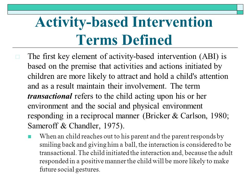 Activity-based Intervention Terms Defined