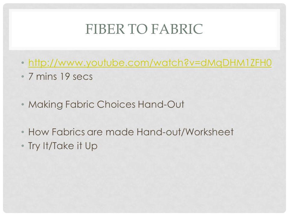 Fiber to Fabric http://www.youtube.com/watch v=dMqDHM1ZFH0