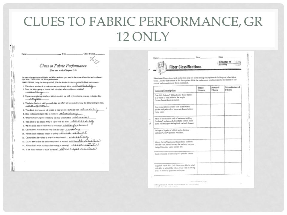 Clues to Fabric Performance, Gr 12 only
