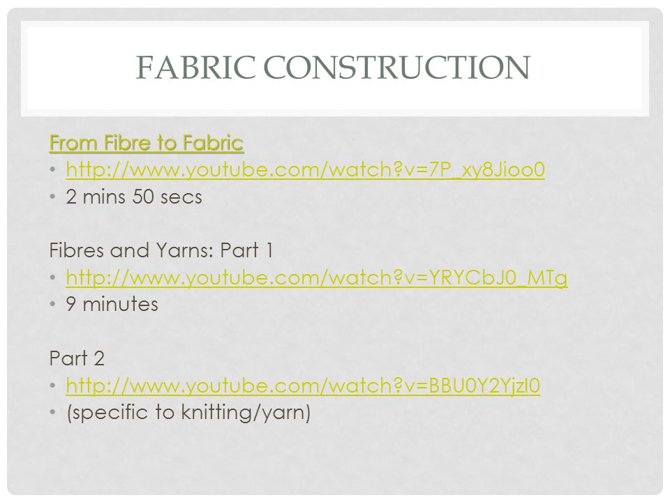 Fabric Construction From Fibre to Fabric