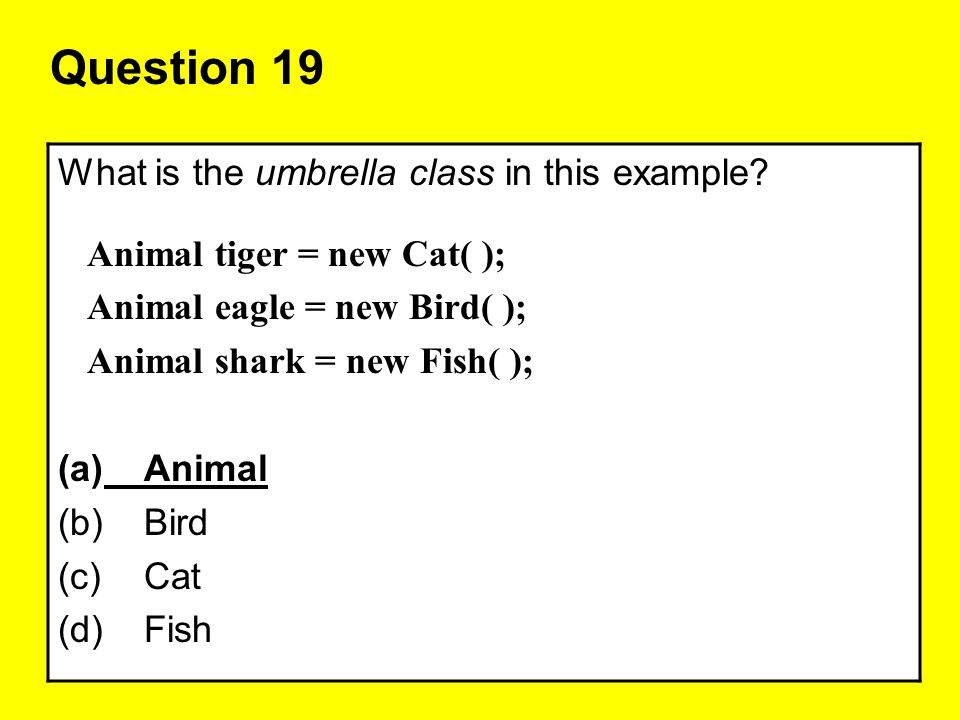 Question 19 What is the umbrella class in this example
