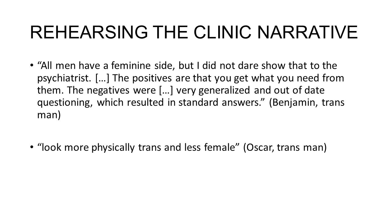 REHEARSING THE CLINIC NARRATIVE