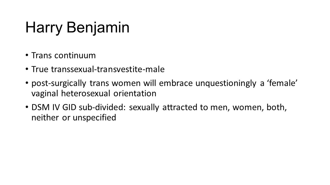 Harry Benjamin Trans continuum True transsexual-transvestite-male