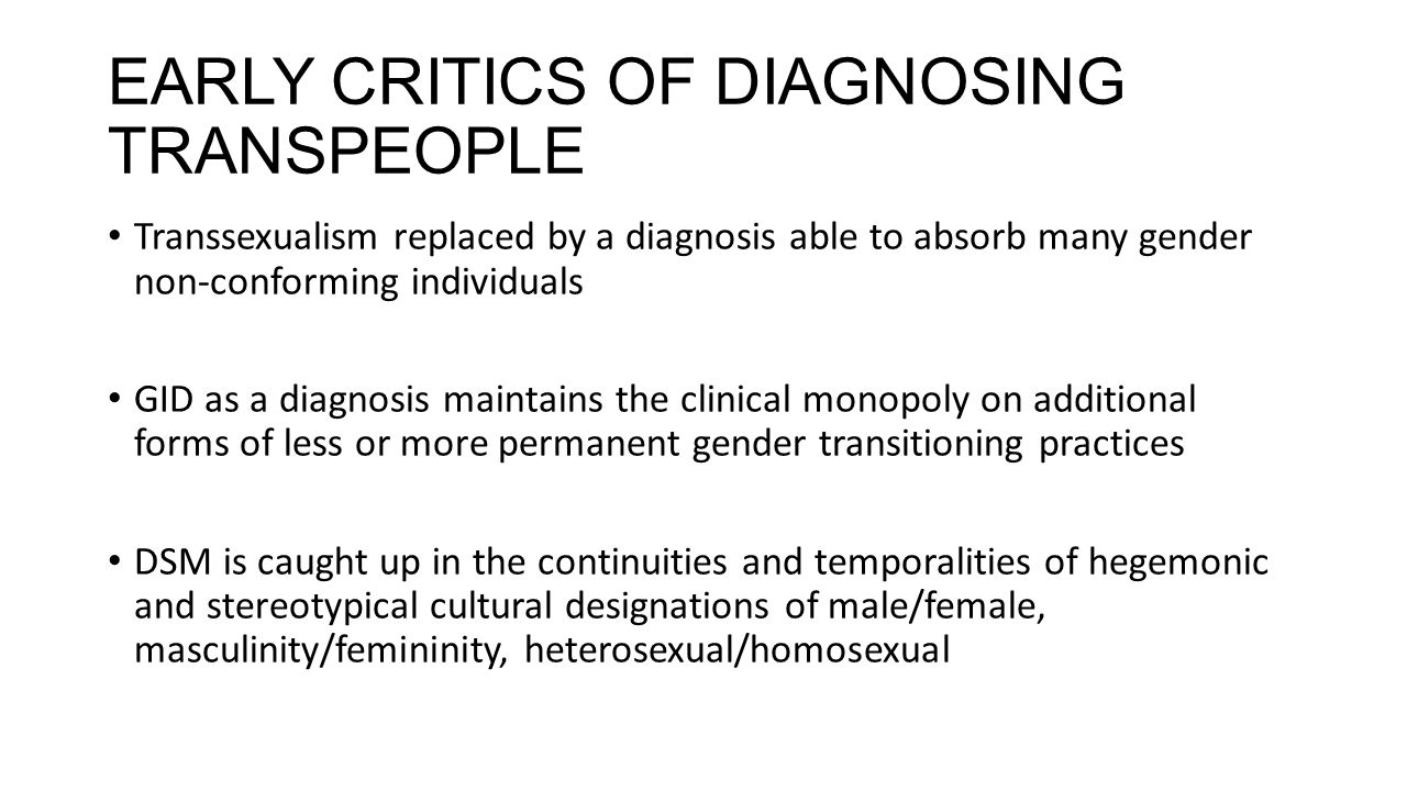 EARLY CRITICS OF DIAGNOSING TRANSPEOPLE