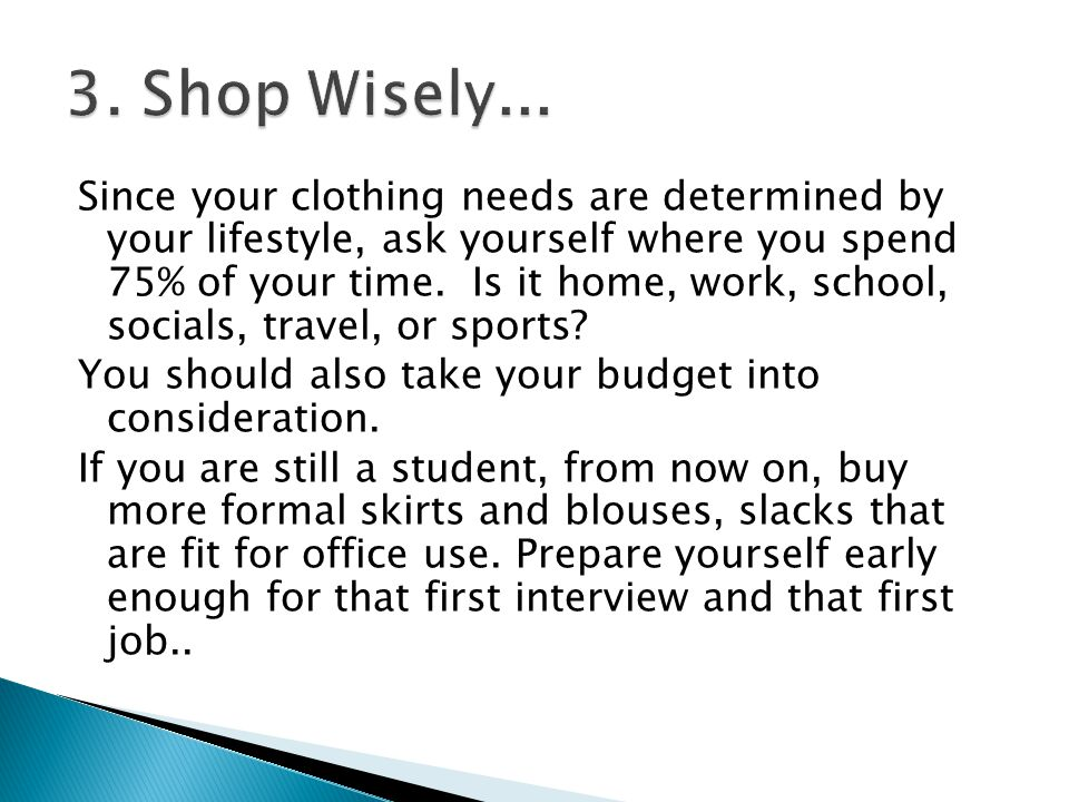 3. Shop Wisely...
