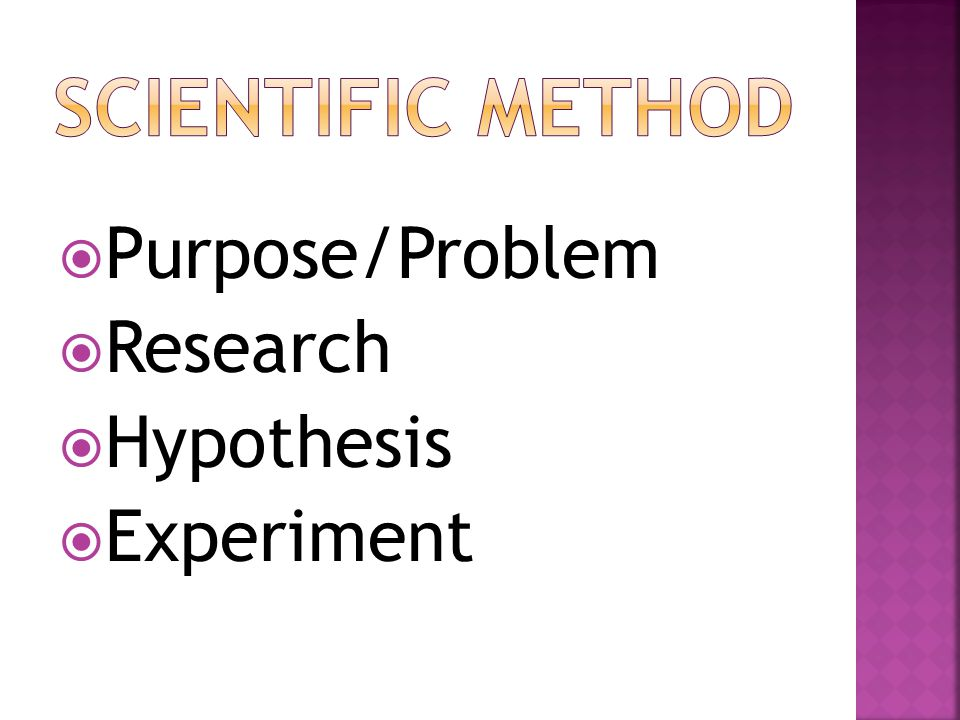 Scientific Method Purpose/Problem Research Hypothesis Experiment