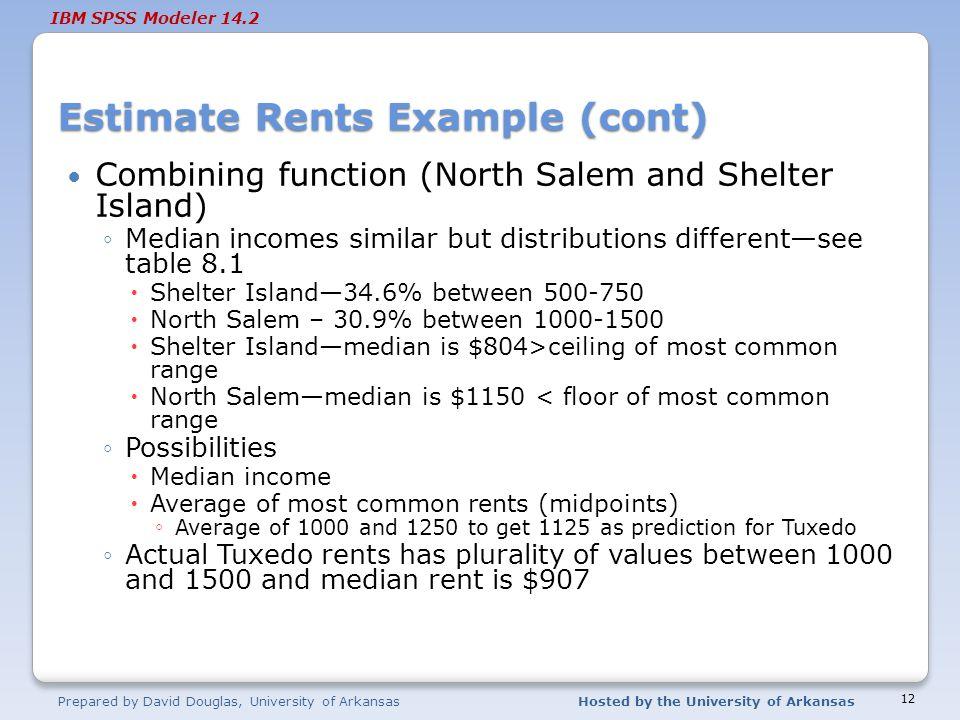 Estimate Rents Example (cont)