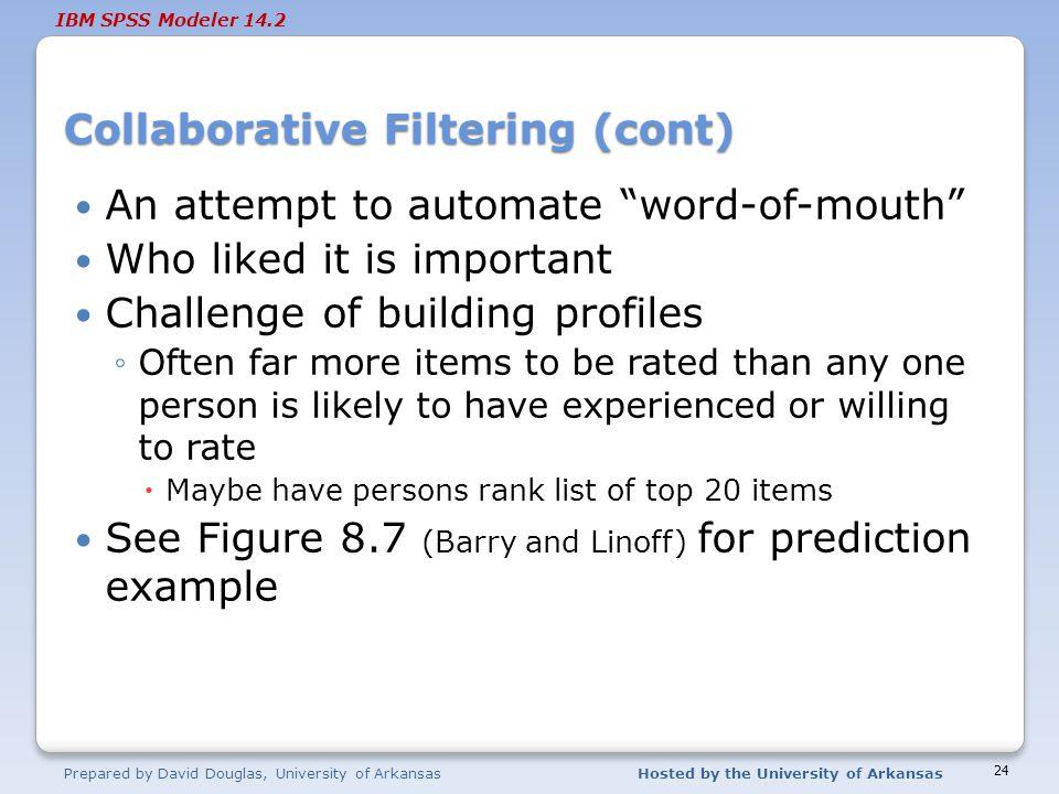 Collaborative Filtering (cont)