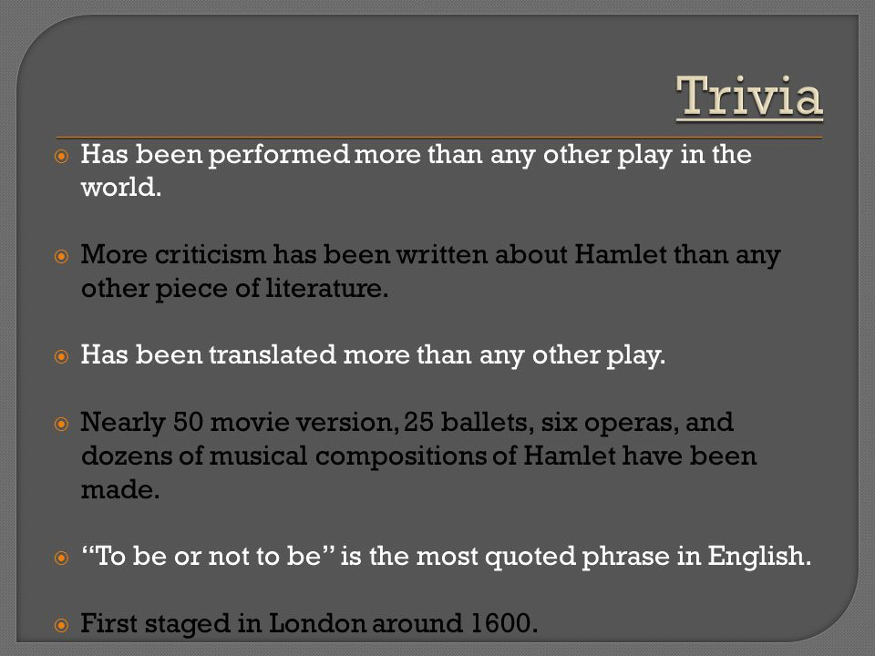 Trivia Has been performed more than any other play in the world.