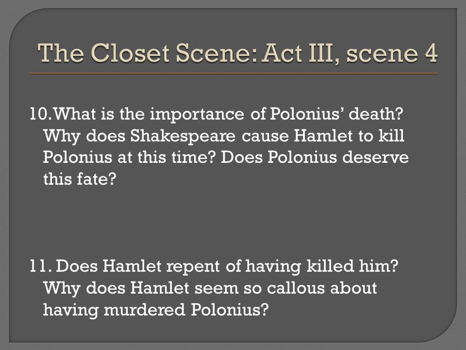 the death of polonius family in william shakespeares hamlet Ual death: x all quotations are taken from william shakespeare: the complete  works, gen ed  for when hamlet responds to claudius's but now, my cousin.