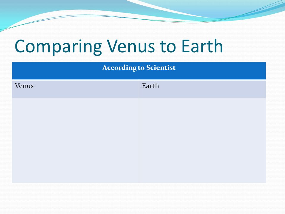 Comparing Venus to Earth
