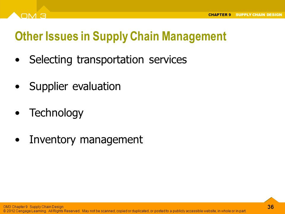 Other Issues in Supply Chain Management