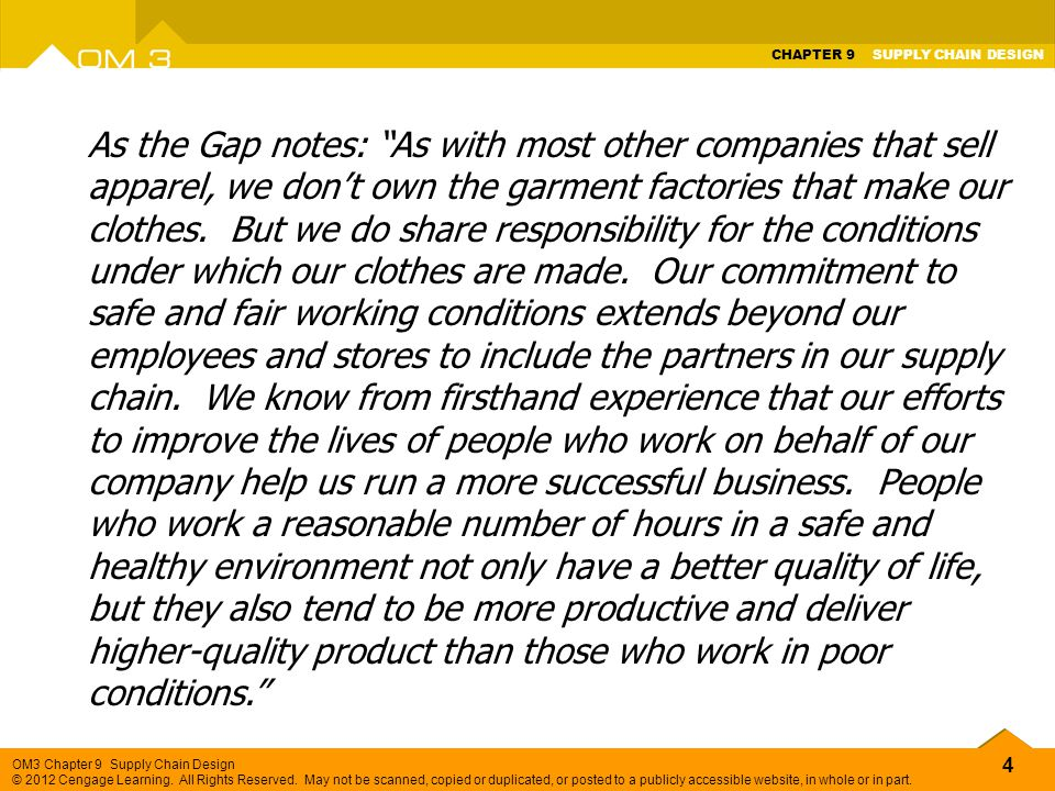 As the Gap notes: As with most other companies that sell apparel, we don't own the garment factories that make our clothes.