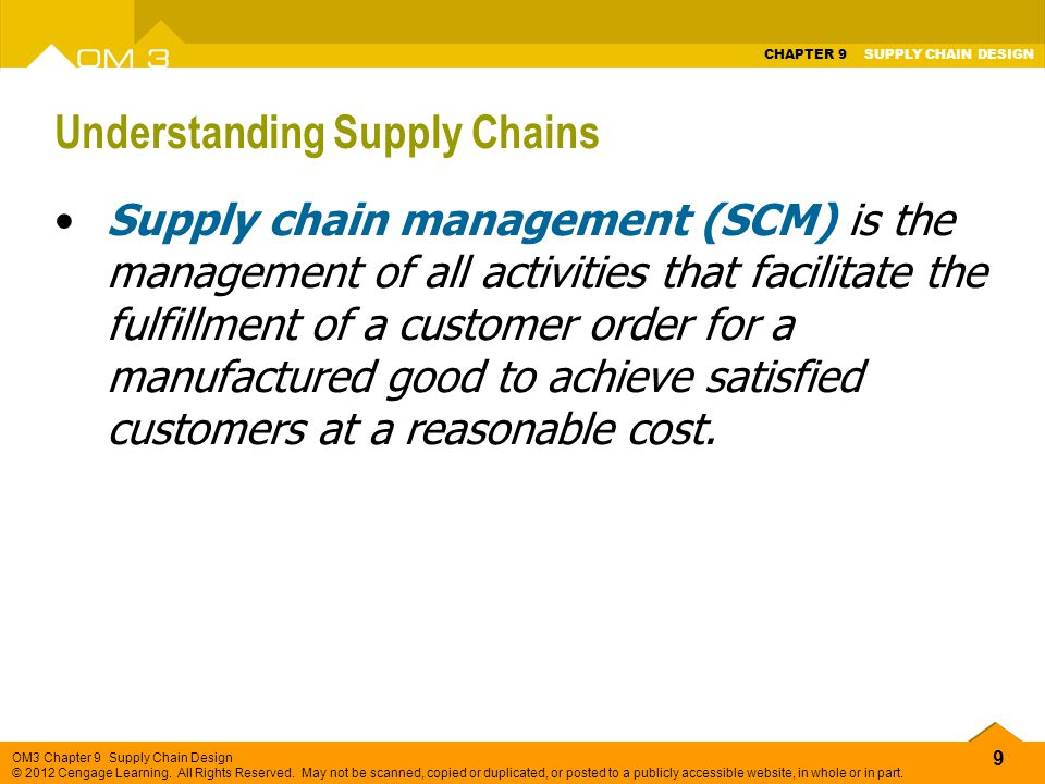 understanding supply chain What is supply chain management (scm) supply chain management (scm) is the active management of supply chain activities to maximize customer value and achieve a.