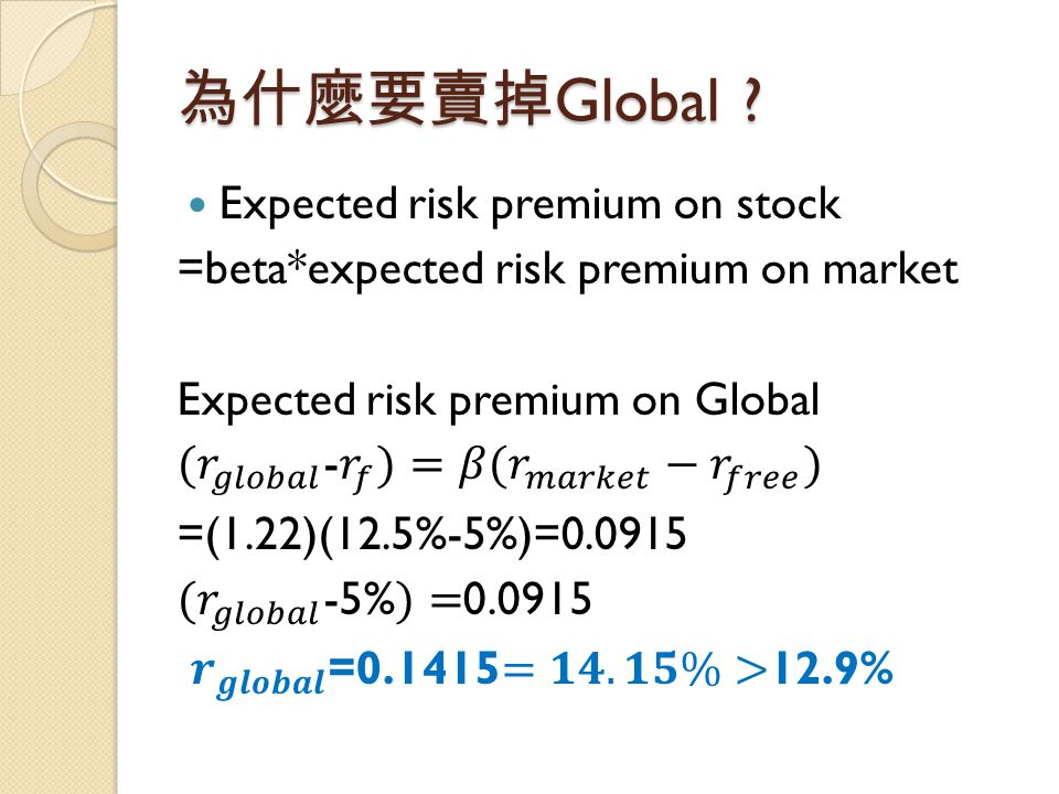 為什麼要賣掉Global Expected risk premium on stock