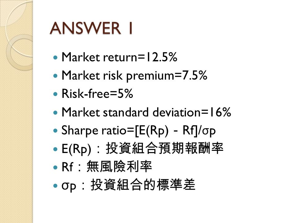 ANSWER 1 Market return=12.5% Market risk premium=7.5% Risk-free=5%