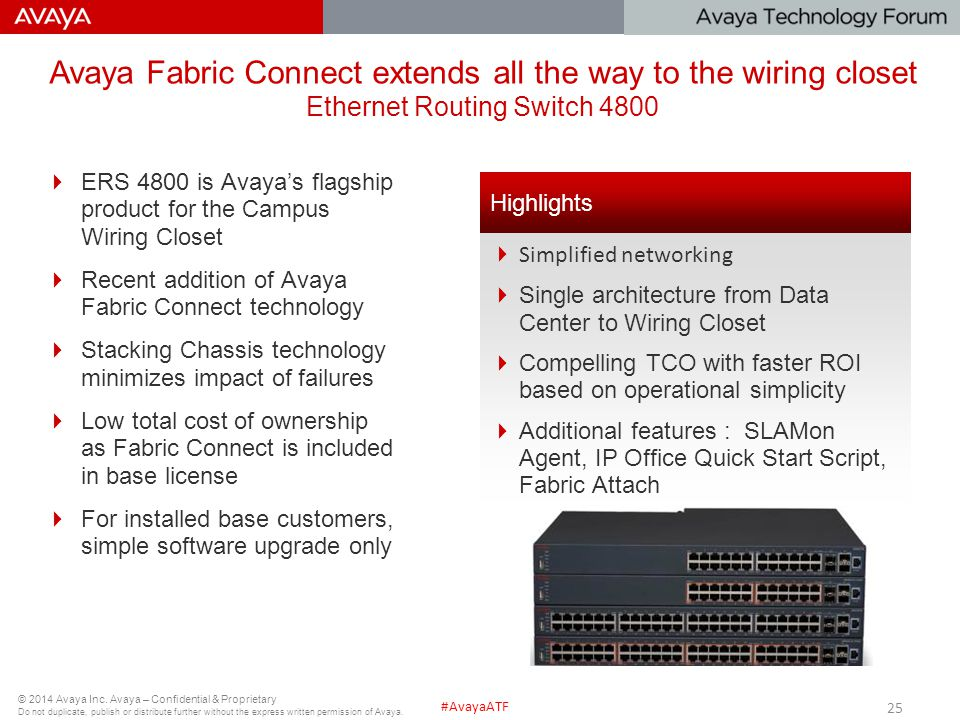 Avaya Fabric Connect extends all the way to the wiring closet Ethernet Routing Switch 4800