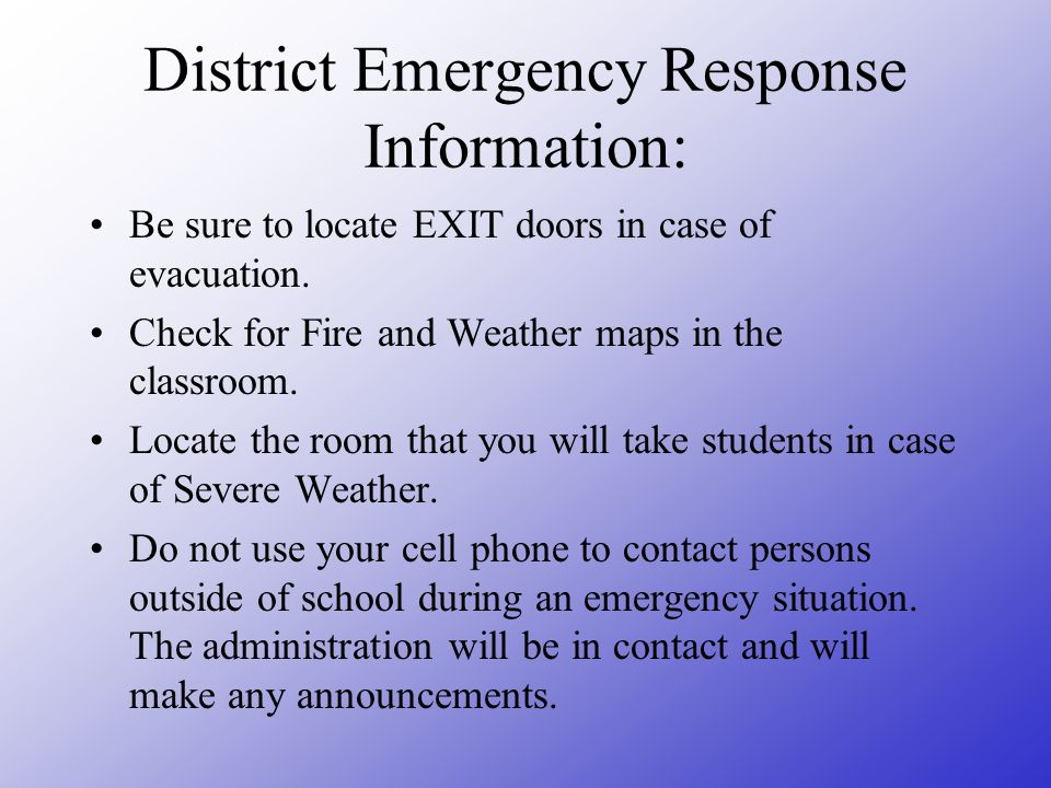 District Emergency Response Information: