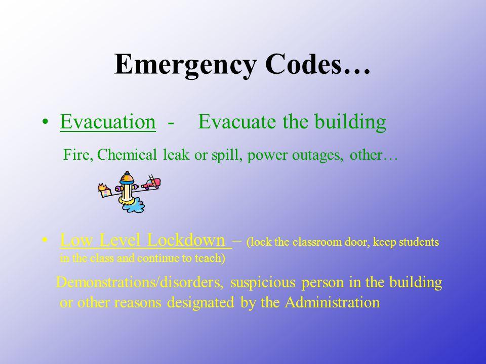 Emergency Codes… Evacuation - Evacuate the building