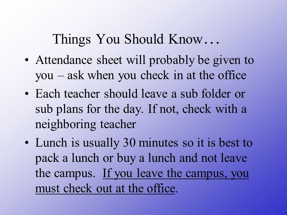 Things You Should Know…