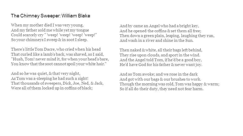 The Chimney Sweeper: William Blake