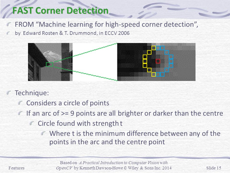FAST Corner Detection FROM Machine learning for high-speed corner detection , by Edward Rosten & T. Drummond, in ECCV 2006.