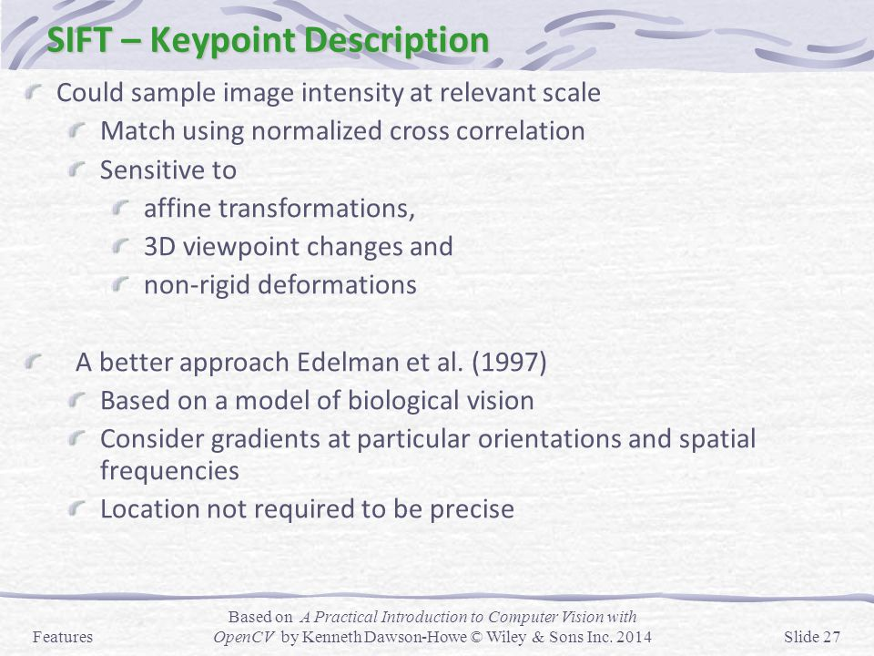 SIFT – Keypoint Description