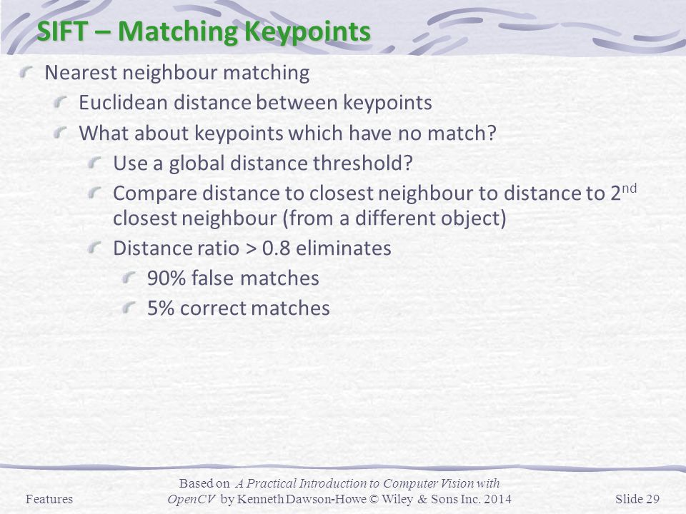 SIFT – Matching Keypoints