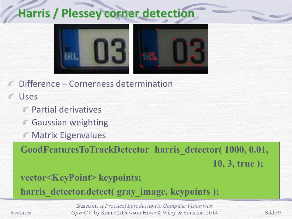 Harris / Plessey corner detection