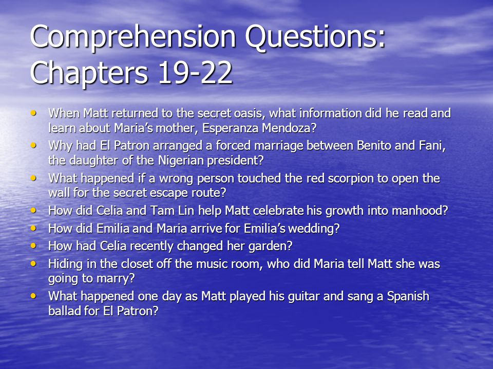 Comprehension Questions: Chapters 19-22