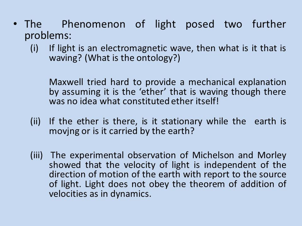 The Phenomenon of light posed two further problems: