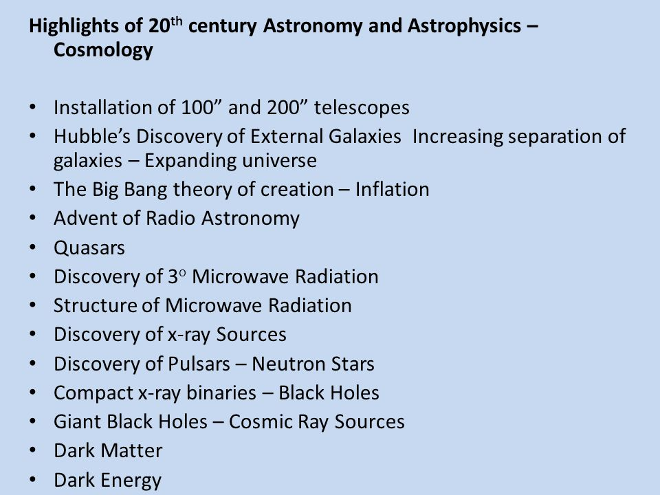Highlights of 20th century Astronomy and Astrophysics – Cosmology