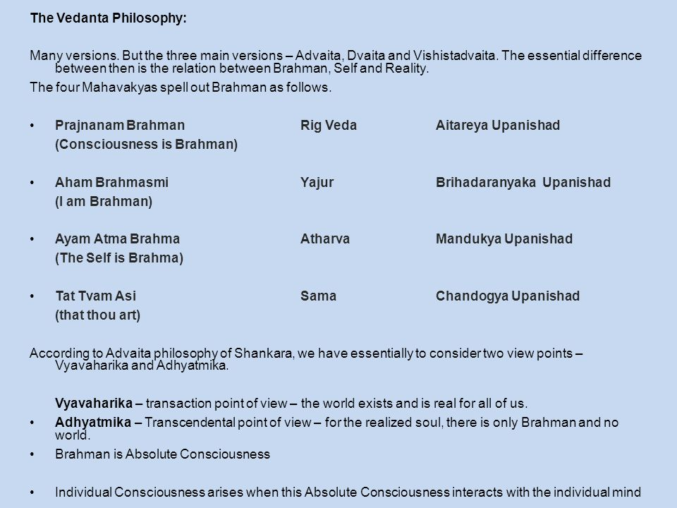 The Vedanta Philosophy:
