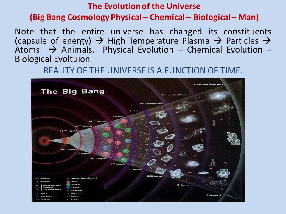 REALITY OF THE UNIVERSE IS A FUNCTION OF TIME.