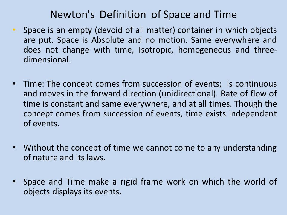 Newton s Definition of Space and Time