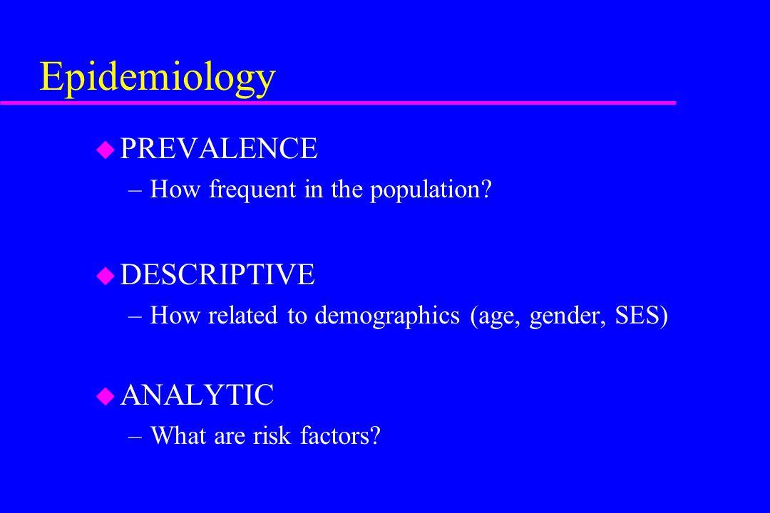 Epidemiology PREVALENCE DESCRIPTIVE ANALYTIC