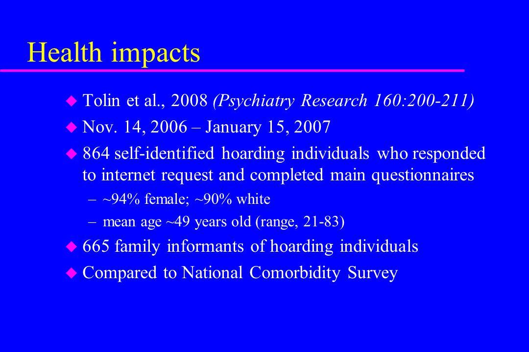 Health impacts Tolin et al., 2008 (Psychiatry Research 160:200-211)