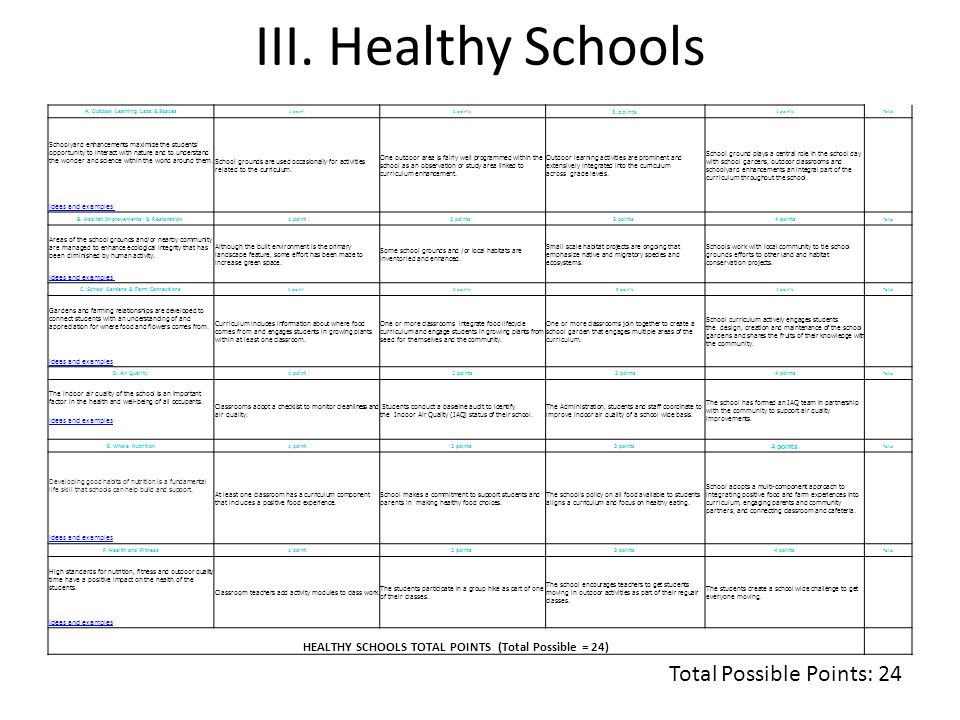 III. Healthy Schools Total Possible Points: 24