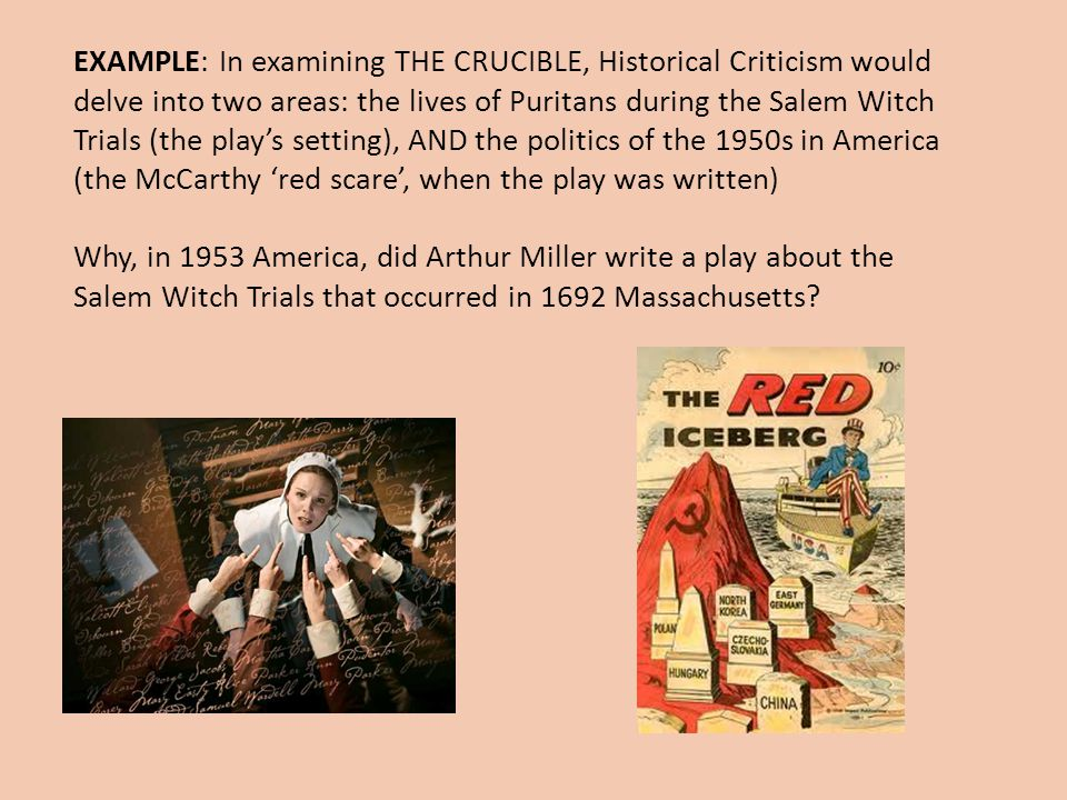 the parallels between salem in 1692 and america during the 1950s in the crucible by arthur miller Arthur miller's masses arthur miller was born in new york city in october 1915 to isidore and augusta miller he would attend the university of michigan, where he began crafting plays.