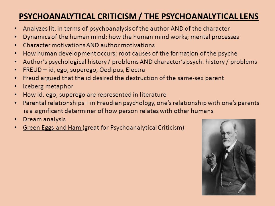 PSYCHOANALYTICAL CRITICISM / THE PSYCHOANALYTICAL LENS