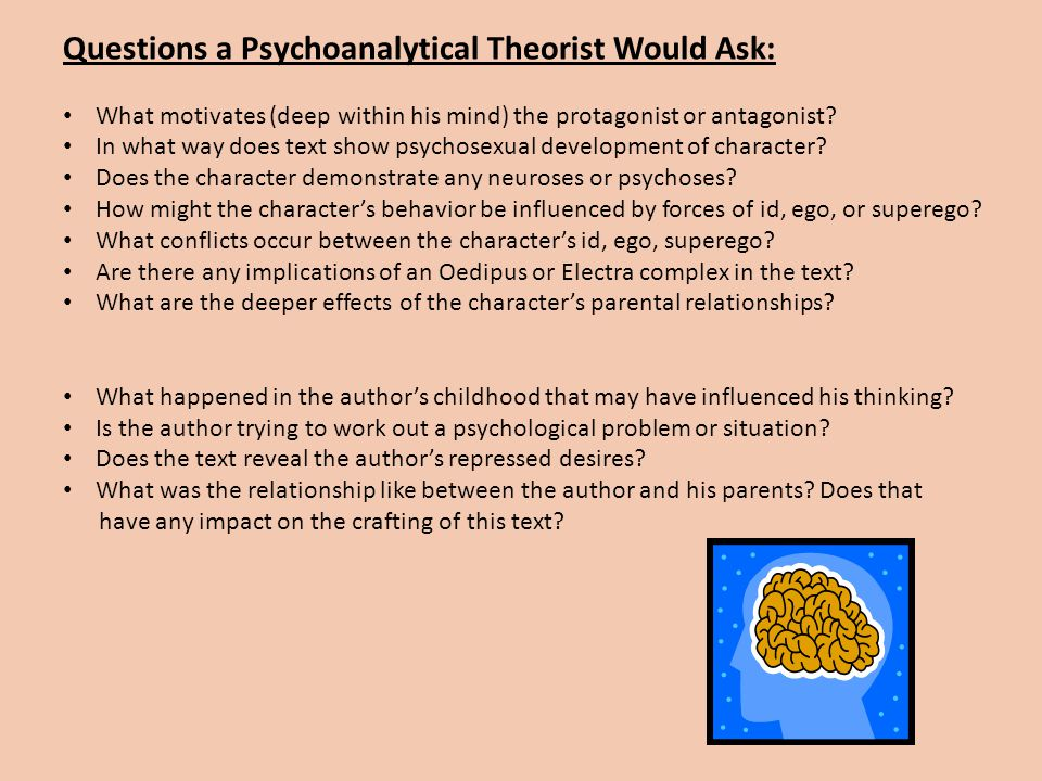 Questions a Psychoanalytical Theorist Would Ask: