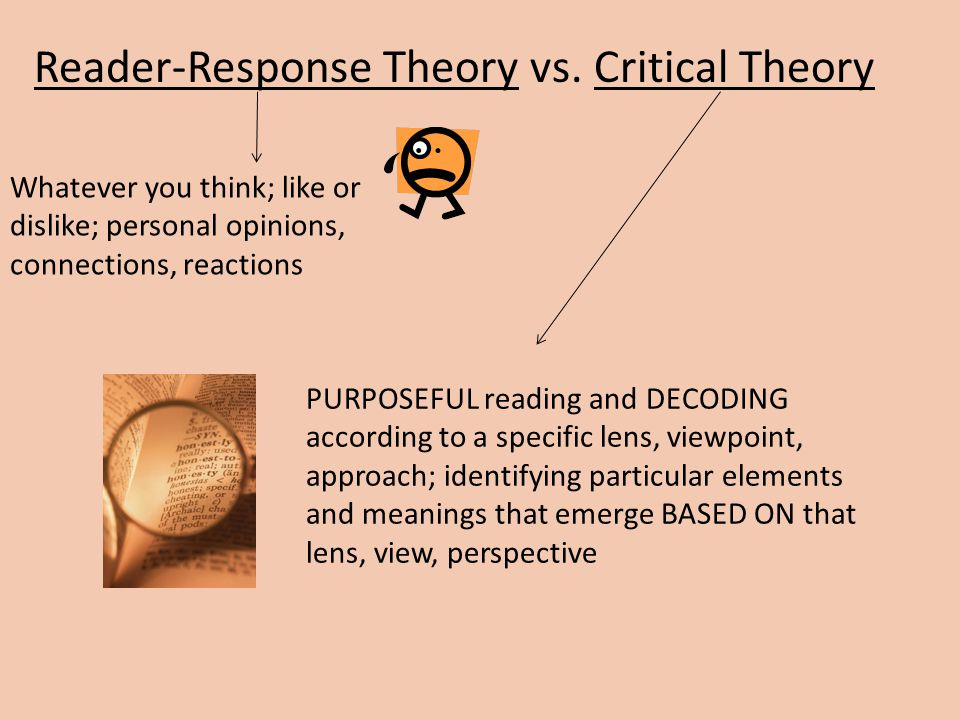 readers response theory Reader-response criticism terms and principles common assumptions of reader-response theories: the text is a program designed to produce events in readers' minds, not all of them correct.